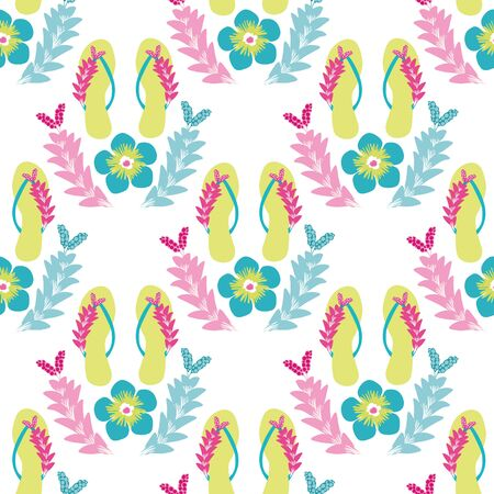 Flip flop shoe on beach seamless vector pattern background. Elegant sandals and flowers oceanside backdrop. Tropical colors. Hot summer all over print. For seaside wedding and honeymoon resort concept