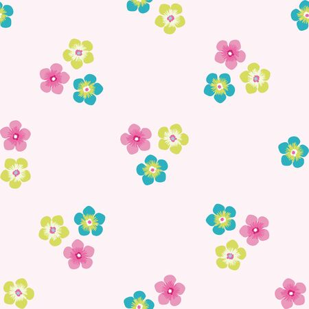 Trio of small flowers seamless vector pattern background. Groups of multicolor blooms tropical backdrop. Modern drawn floral illustration. All over print for summer vacation and wedding resort concept