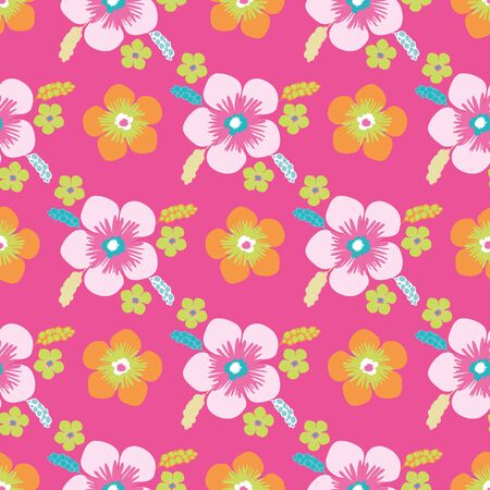 Tropical flower seamless vector pattern background. Hand drawn blooms and leaves exotic backdrop. Modern bright floral motifs. Hot summer all over print for vacation and wedding resort concept.