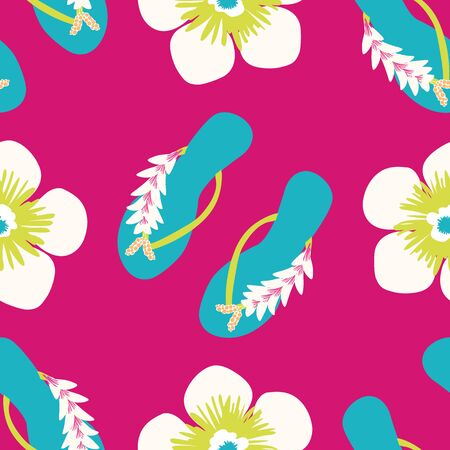 Flip flop shoe seamless vector pattern background. Stylish sandals with tropical flower decoration beach wedding backdrop. Multicolor. All over print for exotic vacation and honeymoon resort concept