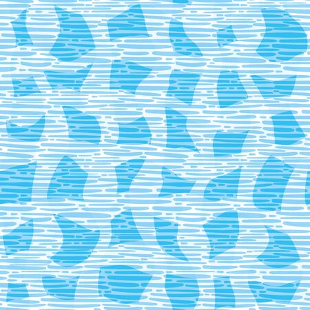 Vector wicker weave textured seamless pattern background. Woven fabric and abstract irregular shapes backdrop. Monochrome design. Modern irregular repeat. All over print for summer and ocean concept. Çizim