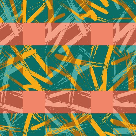 Colorful brush stroke canvas plaid seamless pattern background. Coarse painterly criss cross stripe geometric backdrop. Modern grid weave design. Abstract woven all over print for summer concept.