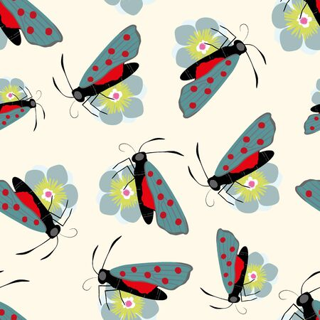Six spot burnet butterfly seamless vector pattern background. Day flying moth on flower illustration. Scottish coastal insect backdrop. All over print for Scotland summer vacation,wildlife concept