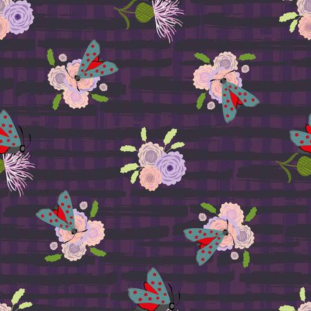 Six spot burnet butterfly seamless vector pattern background. Day flying moth on scabious flower on purple plaid backdrop. Scottish insect backdrop. All over print for Scotland summer wildlife concept Stock Illustratie