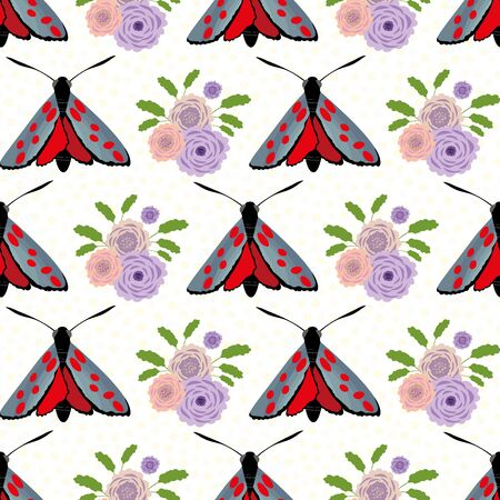 Six spot burnet butterfly seamless vector pattern background. Illustration of day flying moth with bouquet of scabious flower. Scottish insect backdrop. All over print for Scotland wildlife concept