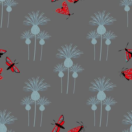 Six spot burnet butterfly seamless vector pattern background. Day flying moth with knapweed dark gray backdrop. Scottish coastal insect design. All over print for Scotland summer wildlife concept