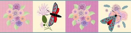 Six spot burnet butterfly seamless vector border. Day flying moth meadow flower banner. Vintage Scottish coastal insect and floral illustration. Scotland summer wildlife ribbon, edge trim, washi tape
