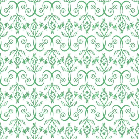 Elegant celtic swirl seamless vector pattern background. Modern stylized floral green white backdrop. Hand drawn geometric ornate repeat. All over print for irish, scottish gaelic wedding concept