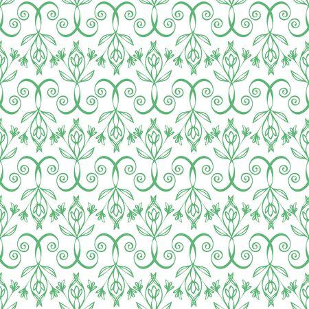 Elegant celtic swirl seamless vector pattern background. Modern stylized floral green white backdrop. Hand drawn geometric ornate repeat. All over print for irish, scottish gaelic wedding concept Vektorové ilustrace