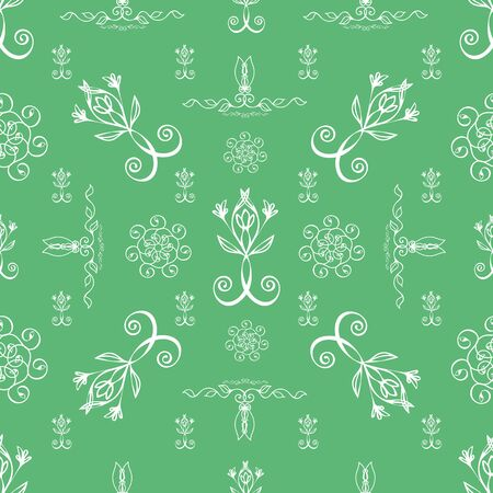 Elegant celtic swirl seamless vector pattern background. Modern stylized floral green white backdrop. Hand drawn geometric tile style repeat. All over print for irish, scottish gaelic wedding concept
