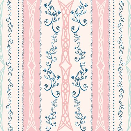 Elegant celtic seamless vector pattern background. Stylized floral pink blue backdrop. Hand drawn linear geometric vertical stripe repeat. All over print for irish, scottish gaelic wedding concept