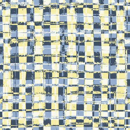 Retro vector plaid style seamless pattern background. Organic painterly brush scratch grunge effect backdrop. Abstract blue, yellow grid ink repeat. Geometric all over print for midcentury concept.
