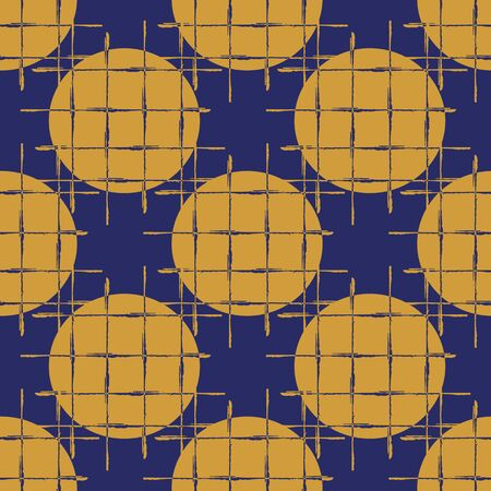 Abstract waffle textured circle vector seamless pattern background. Brush stroke style grunge weave effect backdrop. Modern geometric gold indigo grid design. All over print for luxury packaging.