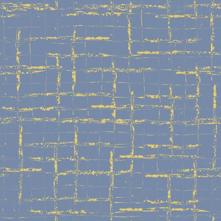 Retro vector broken grid seamless pattern background. Painterly brush scratch grunge style weave backdrop. Monochrome blue gold mid century repeat. Geometric all over print for packaging stationery