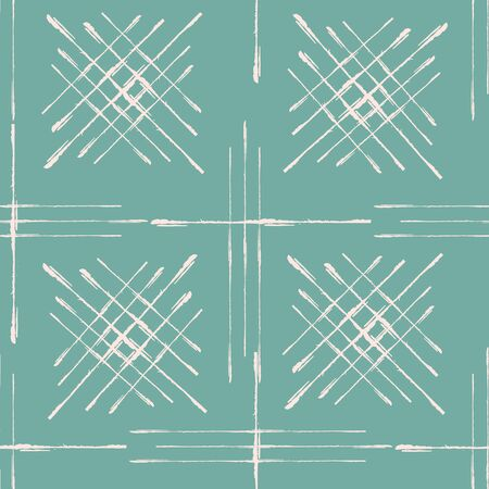 Abstract vector broken line grid seamless pattern background. Scratch grunge brush style woven squares backdrop. Duotone pink teal repeat. Geometric all over print for packaging stationery