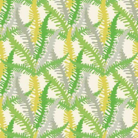Fern leaves vector seamless pattern background. Forest plant frond backdrop. Hand drawn green, silver, gold botanical foliage illustration. All over print for fabric, textile print, soft furnishing Illustration