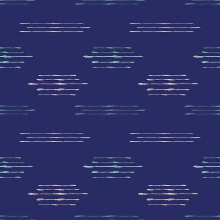 Abstract kilim style vector seamless pattern background. Grunge brush effect geometric indigo blue backdrop. Horizontal modern ikat linear design.Low contrast all over print for minimalist concept Illustration