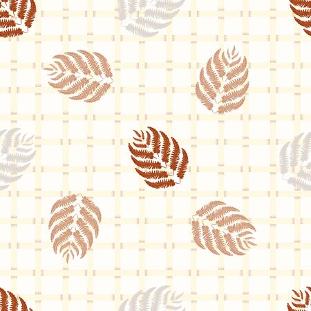 Fern leaves vector seamless pattern background. Abstract forest plant on wicker style backdrop. Monochrome hand drawn botanical foliage design. All over print for fall, autumn concept, packaging Imagens - 145028085