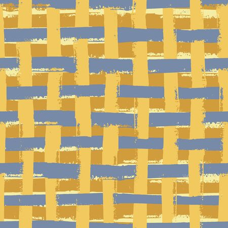 Vector weave wicker style seamless pattern background. Organic painterly brush stroke effect backdrop. Repeat woven rattan effect blue gold braided design. All over print for packaging, decor Illustration