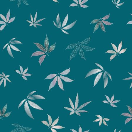 Cannabis leaves seamless vector pattern background. Hand drawn purple teal hemp foliage backdrop. Monochrome botanical marijuana design. All over print for wellness, health concept,packaging, print