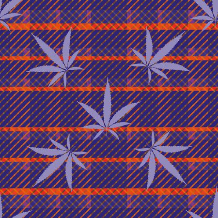 Cannabis leaves seamless vector pattern background. Vibrant neon color hemp foliage on tartan plaid backdrop. Stylish botanical marijuana design. All over print for wellness, health, self care concept Ilustração