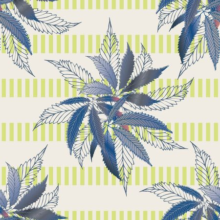 Marijuana leaves seamless vector pattern background. Hemp foliage on striped backdrop. Vintage line art botanical cannabis design. Elegant all over print for wellness, health, self care, home concept Ilustração