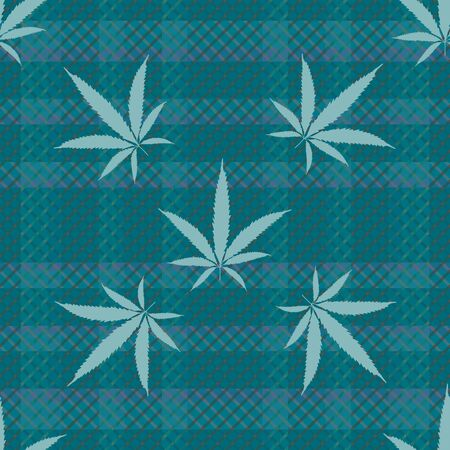 Cannabis leaves seamless vector pattern background. Monochrome teal hemp foliage on tartan plaid backdrop. Stylish botanical marijuana design. All over print for wellness, health, self care concept Ilustração