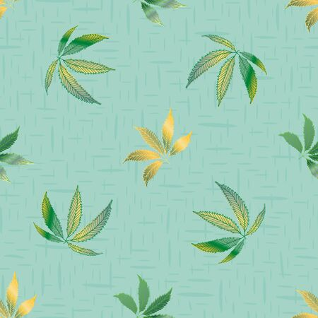 Vector cannabis leaves seamless vector pattern background. Hand drawn pastel teal hemp foliage textured backdrop. Stylish botanical marijuana design. All over print for wellness, health concept Ilustração