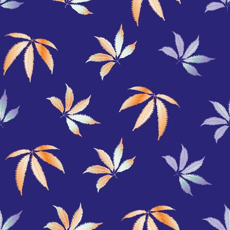 Vector Cannabis leaves seamless pattern background. Hand drawn orange indigo hemp foliage backdrop. Modern botanical marijuana design. All over print for wellness, health concept,packaging, print