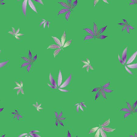Cannabis leaves seamless vector pattern background. Hand drawn green and purple hemp foliage backdrop. Elegant botanical marijuana design. All over print for wellness, health concept,packaging