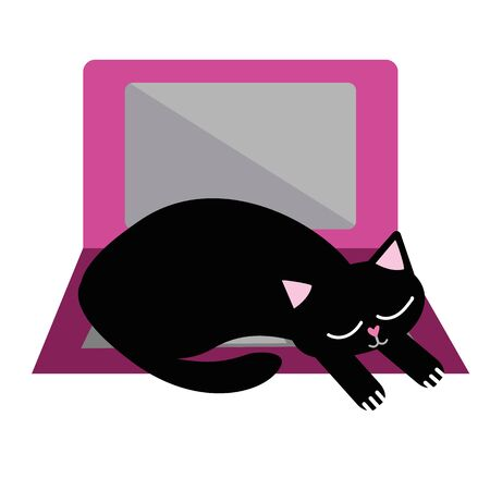 Cute cartoon pet cat and laptop vector illustration. Sleepy black kitty snoozes on keyboard and disrupts business office work flow. Isolated hand drawn fun motif for working from home concept.