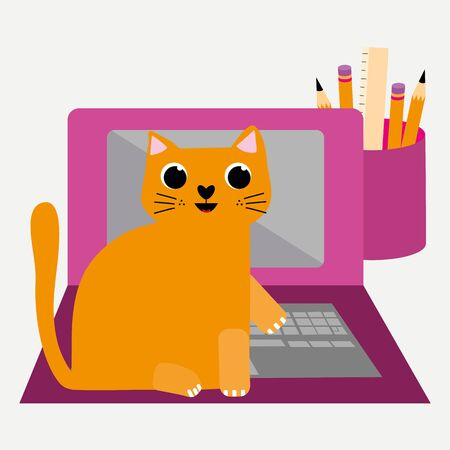 Cute cartoon cat and laptop vector illustration. Cheeky ginger feline character peeks out behind monitor and interrupts business office work flow. Hand drawn fun design for working from home concept