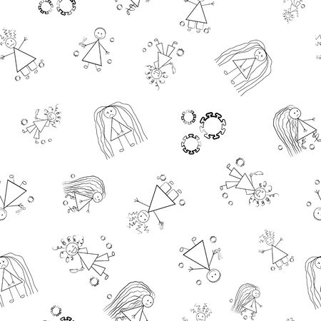 Bad hair Covid 19 quarantine vector seamless pattern. Humorous backdrop of childlike scribble drawings of girls with messy styles and coronavirus motif. Black and white isolation self care concept. Ilustração