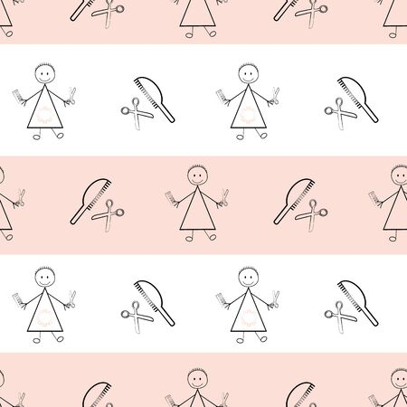 Bad hair cut Covid 19 quarantine vector seamless pattern. Funny infographic backdrop sketch with stick people , women, scissors and coronavirus motif. All over print for isolation self care concept.