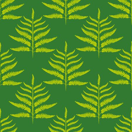 Fern vector seamless pattern background. Forest plant frond monochrome green backdrop. Damask style geometric botanical foliage illustration Stylized all over print for nature health concept packaging