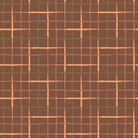 Grunge line vector seamless grid pattern background. Organic painterly ink brush stroke style criss cross backdrop. Irregular overlapping plaid style design. Brown tone weave effect all over print