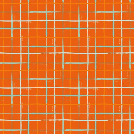 Grunge line vector seamless grid pattern background. Organic painterly ink brush stroke style criss cross backdrop. Irregular overlapping plaid style design. Orange blue weave effect all over print