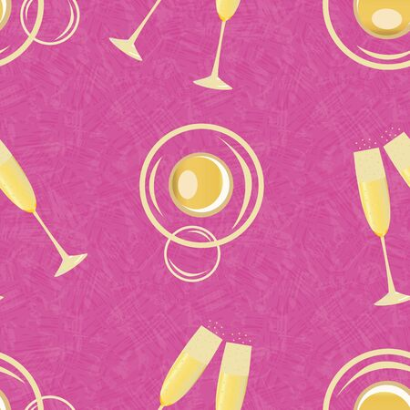 Champagne bubbles vector seamless pattern background. Hand drawn glasses, fizzy drink gold pink textured backdrop. Stylish sparkling wine repeat illustration All over print for party celebration