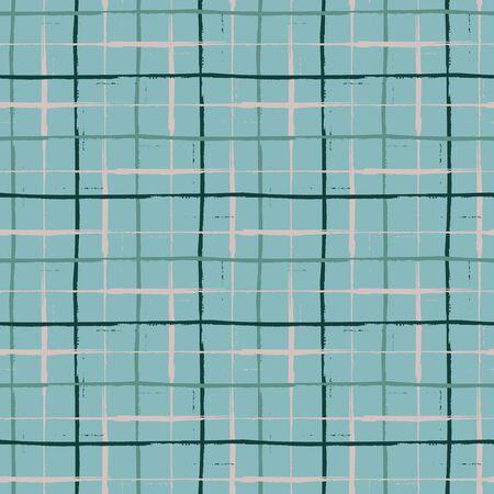 Grunge line vector seamless grid pattern background. Organic painterly ink brush stroke style criss cross backdrop. Irregular overlapping plaid style design. Blue black weave effect all over print Vektorgrafik