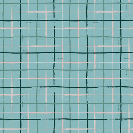 Grunge line vector seamless grid pattern background. Organic painterly ink brush stroke style criss cross backdrop. Irregular overlapping plaid style design. Blue black weave effect all over print Vector Illustration