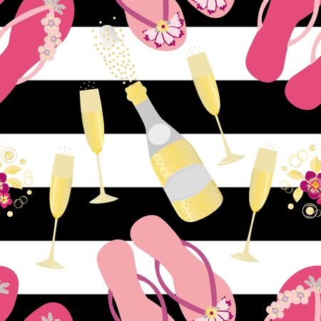Flip flop shoe and Champagne icons vector seamless pattern background. Pink gold bottles, fizzing glasses, sandals on bold black stripe backdrop. All over print for beach hen party celebration concept