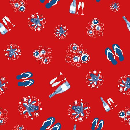 Champagne bottles and flip flop shoe vector seamless pattern background. Champagne flutes fizz, beach sandals red, blue, white backdrop. All over print for southern party celebration, 4th July concept