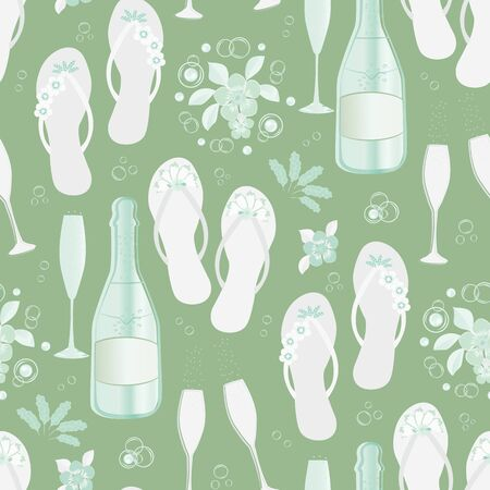Champagne bottles and flip flop shoe vector seamless pattern background. Glasses, sparkling wine, sandals flower monochrome sage green backdrop. All over print for beach hen party celebration concept