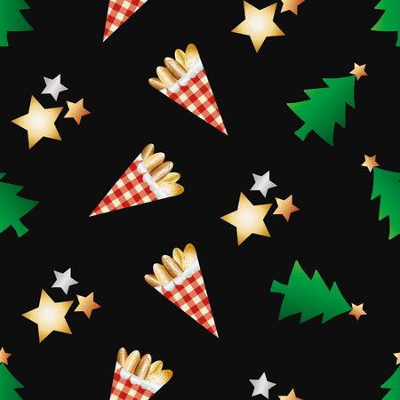 Roasted almond nuts in gingham paper bags vector seamless pattern background. Golden confectionery, festive trees, stars on black backdrop. Design for food or Christmas fair, farmers market concept Vettoriali