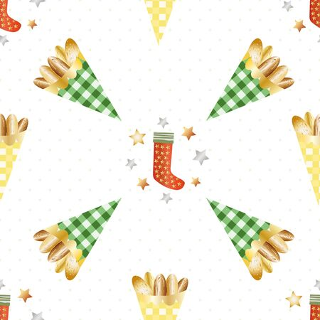 Almond nuts vector seamless pattern background. Roasted golden confectionery in gingham paper bags, festive stockings and stars stockings on white backdrop. Design for seasonal, winter, Christmas fair