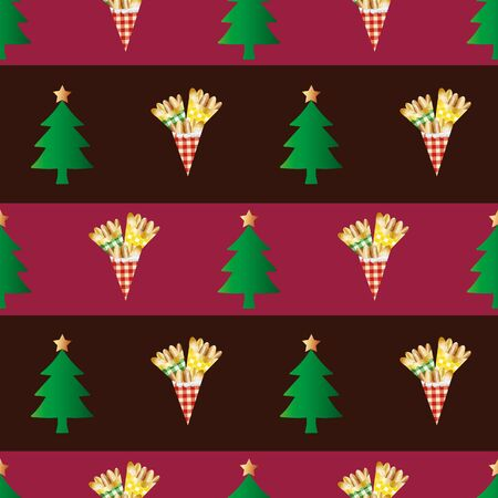 Almond nuts vector seamless pattern background. Rows of roasted golden confectionery in gingham bags , festive trees on striped red backdrop. Geometric design for seasonal, winter, Christmas market