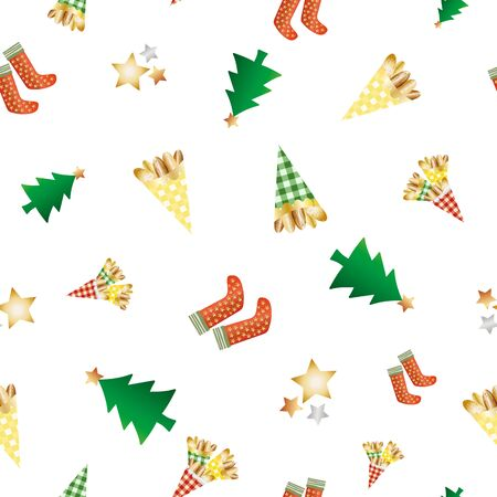 Almond nuts vector seamless pattern background. Mix of roasted golden confectionery in gingham bags, festive stars, trees, stockings on white backdrop. Repeat for seasonal, winter, Christmas market