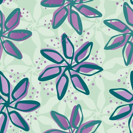 Sparkly hand drawn flowers seamless vector pattern background. Painterly blooms with offset color on textured mint green backdrop. Modern botanical all over print for giftwrap, stationery, packaging