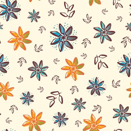 Retro flowers and leaves seamless vector pattern background. Painterly orange and blue blooms foliage with offset color cream white backdrop. Botanical all over print for giftwrap, organic packaging