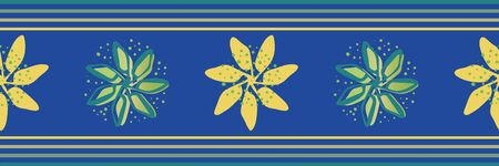 Modern hand drawn flowers vector seamless border. Banner of painterly yellow and teal florals on blue backdrop with striped edging. Stylish geometric design for label, ribbon, washi tape, packaging